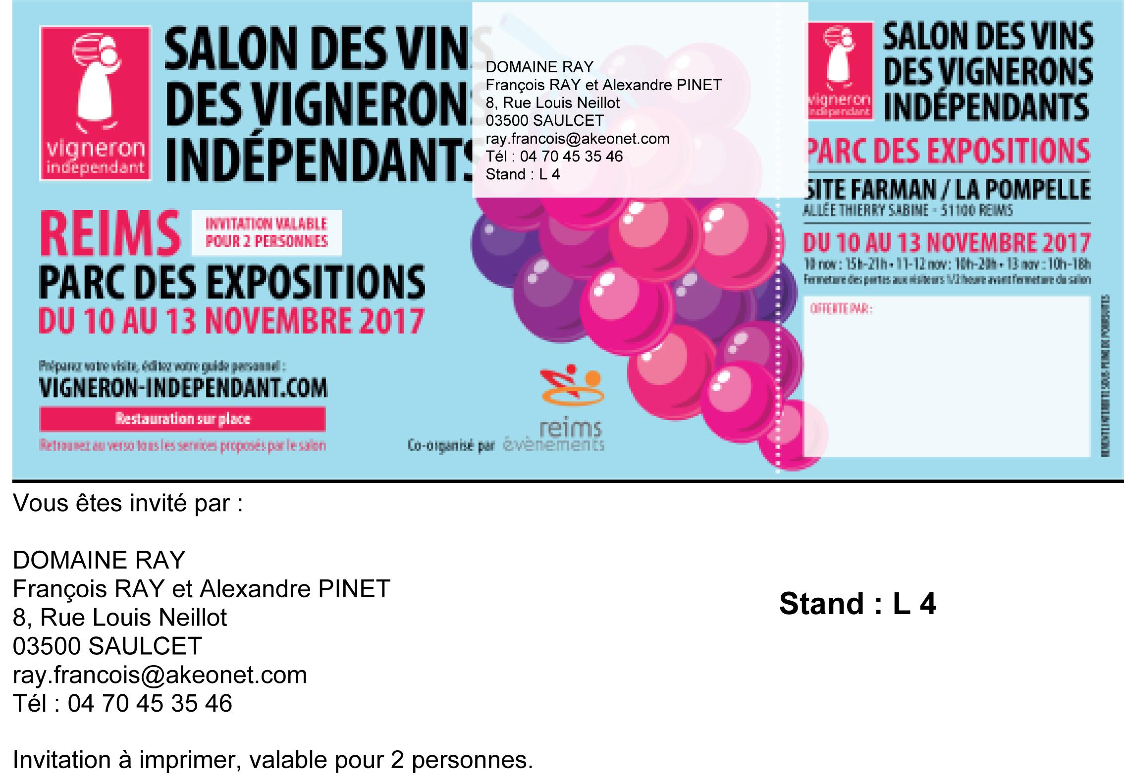 Vigneron saint pour ain sur sioule domaine ray for Salon du vin reims 2017