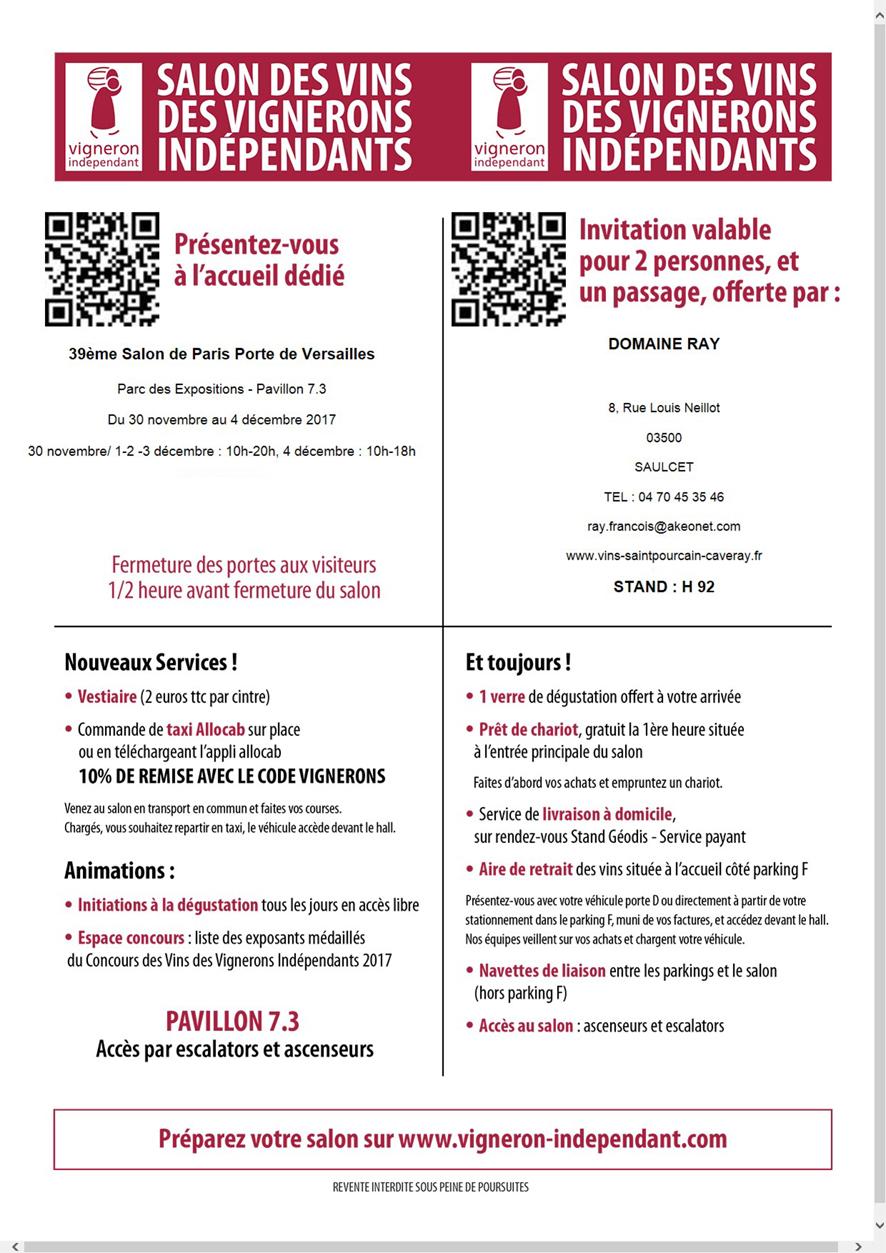 Vigneron saint pour ain sur sioule domaine ray for Porte de versailles salon des vignerons independants 2015